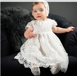 Wholesale Christening Gowns For Newborns - 2017 New 1 Year Birthday Baby Girl Dresses For Baptism Infant Princess Lace Christening Gown Newborn Toddler Bebes Clothes