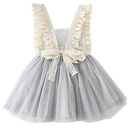 Wholesale Korean Short Dress Party - Free DHL 2016 Kids Girls Tulle Lace Bow Party Dresses Baby Girl TuTu Princess Dress Babies Korean Style Suspender Dress Children's clothing