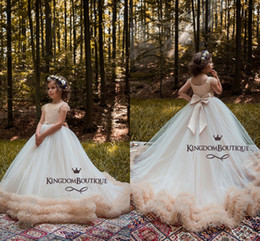 Wholesale Luxury Party Dresses Girls - Luxury Champagne 2018 Girl's Pageant Dresses Ball Gown Tiered Lovely Flower Girl Dresses for Wedding With Bow Knot Sashes Party Dress