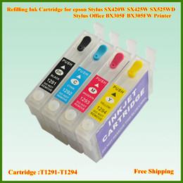 Wholesale Epson Stylus Office Ink - Empty T1291 T1292 T1293 T1294 Refillable Ink Cartridge For Eposon Stylus S22 SX125 SX420W SX425W Stylus Office BX305F BX305FW Printer