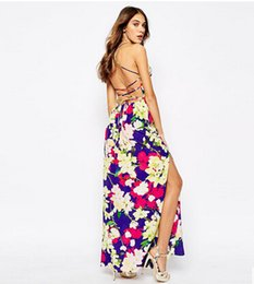 Wholesale Strap Duo - 2015 Europe colorful tropical orchid printing sexy halter cross strap chiffon dress slit hao duo yi