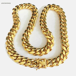Wholesale Dragon Link - HIP HOP 14mm Stainless Steel Curb Cuban Chain Necklace Boys Mens Fashion Chain Dragon Clasp Link jewelry
