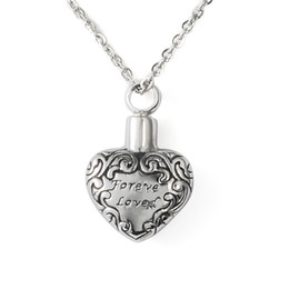 Wholesale Forever Bags - Lily Stainless Steel Forever Love Heart Retro Waterproof Cremation Urn Necklace Ash Memorial Jewelry with gift bag and chain