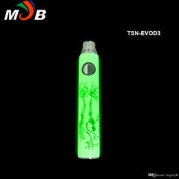 Wholesale Ego T Batteries Light - High Quality Christmas TSN-EVOD battery TSN Noctilucent Battery E Cigarette Ego-T Luminous Night Lighting Battery TSN battery