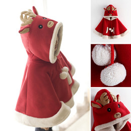 Wholesale Fleece Christmas Jacket - Xmas Children's cloak Merry Christmas Red Santa Claus Faux Fur Kids Jackets And Capes Winter Warm Girl Shawl