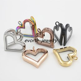 Wholesale Heart Sharp - High Quality Sharp Heart No Crystals 316L Surgical Stainless Steel Glass Pendant Magnet Memory Floating Charm Locket