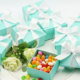 NUOVO ARRIVO Bomboniere spedizione gratuita -120 pz / lotto Scatola di caramelle Tiffany blu Portacandele per matrimoni Regali per feste e compleanni da