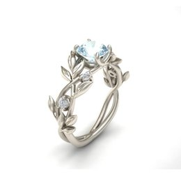 Wholesale Noble Diamonds - Noble Women's Alloy Silver plated Floral Ring Transparent Aquamarine Diamond Jewelry Lucky Flower Vine Leaf Birthday Proposal Gift Bridal En