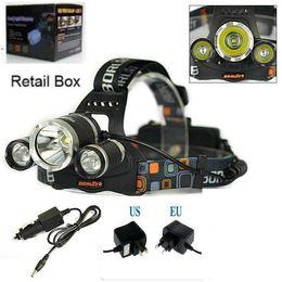 Wholesale Car Headlights Strobe - High Power 5000lum CREE XM-L 3x T6 LED Headlight Headlamp Head Lamp Light Torch Flashlight +charger+car charger Free Shipping