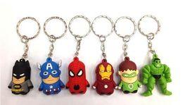 Wholesale Key Finder Free Shipping - Free Shipping Superheroes Spiderman Thor Batman Iron Man Captain America Hulk PVC Keychains Pendants Toys 60pcs set