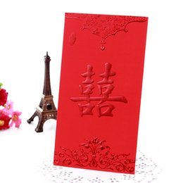 Wholesale Chinese Red Envelope Wedding - China Traditional Wedding Chinese Red Packet Envelope Gift bag Stamping Happiness Give children lucky money in New year Free Shipping