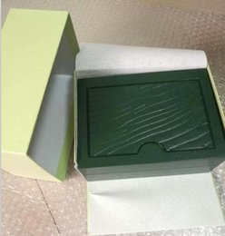 Wholesale Paper Sales - Free shipping New Luxury Mens Ro lex Box Swiss Original Brand Green Boxes Papers Watches Booklet Card Gift For Man Men Women Sale