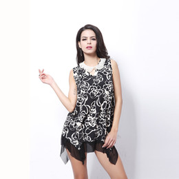 Wholesale Rose Swing - And the wind rose large size irregular large swing printing milk silk dress