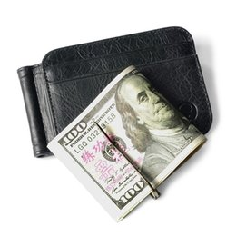 Wholesale Leather Cash Clip - Real Leather 2 Folded Open Clamp For Money Holder Credit Card Case Cash Clip 12 Card Pocket Thin Billfold Wallet Men Money Clips