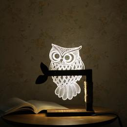Wholesale table bedside lamp nightlight - 3D Acrylic Owl Nightlight Visual Led Night Lights for Home Bedside Night light for Child Gift USB Table Lamp Nightlight IY801129