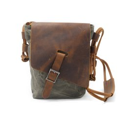 Wholesale Waxed Backpack - The new oil wax canvas bag Retro Leather Crossbody casual backpack female bag