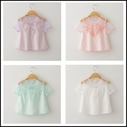 Argentina 2015 muchachas de moda dulces de encaje floral ahueca hacia fuera la camiseta niños perspectiva blusa ropa manga corta rosa blanco DHL MOQ libre: 12 unids SVS0247 # cheap pink floral blouse Suministro