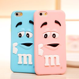 Wholesale defender case s4 - For iphone5 5S 6 6plus Silicon Case Cartoon M&M Defender Candy Rainbow Beans Smile Soft Silicone Case Samsung Galaxy S4 S5 Note4 Cover