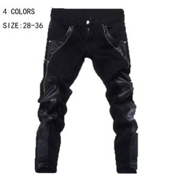 Wholesale Leather Denim Jeans Men - Wholesale-Autumn 2015 Fashion Mens Skinny Jeans PU Leather Patchwork Jeans For Men Street Popular Jeans Male Denim Trousers Size YY 110