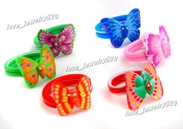 Wholesale American Polymers - Promotion Mix 100PCS Wholesale lots SOFT POLYMER Ceramic Clay Oversize Butterfly RINGS fit kids FASHION JEWELLER