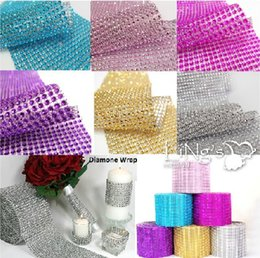 Wholesale Decorations Bling Flower - 10yard Silver Wedding Bouquet Shinning Ribbon 24 Rows Diamond Mesh cake Wrap sparkle bling Ribbons Wedding Decoration Party Decor wa040