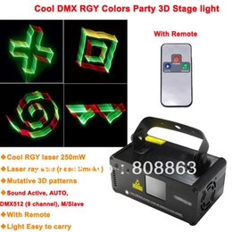 Wholesale Disco Scanner Lights - RGY 250mW DMX512 Laser Stage Lighting Scanner 3D effect light projector DJ Disco Party Xmas Lights Show Remote Digital DMX D78