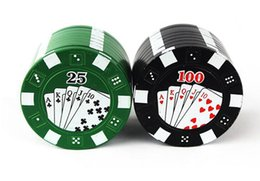 Wholesale chip grinder - Poker Chip Herb Grinder Creative Mental Hand Metal Three Layers Poker Style Herbal Herb Tobacco Grinder Hand Muller