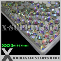 Wholesale Bulk Flat Back - Free Shipping SS30 Clear Crystal AB Color Flat Back Rhinestones,Wholesale Bulk,No Glue Backing