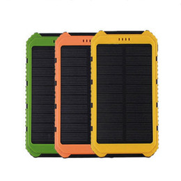 Wholesale External Battery 2a - Universal 18000mAh Solar Panel Power Bank 2A 1A External Battery Pack Phone Charger Green Orange Yellow Wholesale