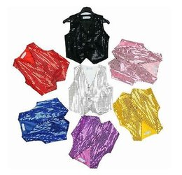 Wholesale Dance Costumes For Boys - Wholesale-Baby boy girl unisex Sequin Vest for Dance Party sequined Show Costume