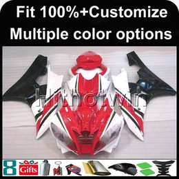 Wholesale Yamaha R6 Gold - 23colors+8Gifts Injection mold RED WHITE motorcycle cowl for Yamaha YZF-R6 2006-2007 06 07 YZFR6 2006 2007 06-07 ABS Plastic Fairing