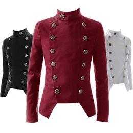 Wholesale White Mandarin Suit - Wholesale- Retro Vintage Slim Fit Male Dress Suit Double Breasted Blazer Men Mandarin Collar Tuxedo Jacket Red Burgundy Black White