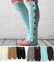 Wholesale Womens Christmas Leggings - Christmas Gift womens boot socks leg warmer lace button winter Leggings Warm up knitted booty Gaiters foot over knee leg warmer
