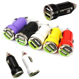 Wholesale mini usb car charger adapter - 20pcs Mini Bullet Dual USB 2 Ports Car Charge Adapter Traveling Accessory Universal Charging For iphone 6 6s 6s plus Samsung S6 S6 edge plus