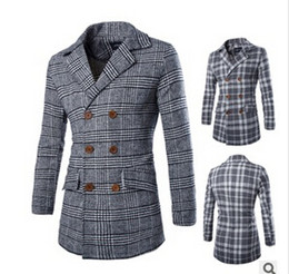 Wholesale Worsted Coat Mens - Free shipping 2014 HOT Fashion Men's Slim Stylish wool coat Winter Long Jacket Double Breasted Overcoat Mens Outerwear