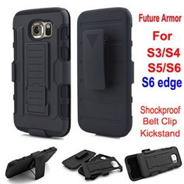 Wholesale S4 Rugged - For Samsung Galaxy S6 Edge S6 S5 S4 S3 Future Armor Impact Rugged Hybrid Hard Case Cover Belt Clip Holster Kickstand Combo Shockproof