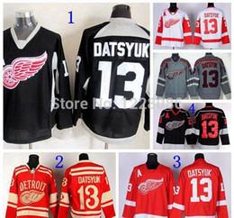 aa2cc3594 2015 Detroit Red Wings Hockey Jerseys Ice Black White Red Grey  13 Pavel  Datsyuk Winter Classic Jersey Charcoal Cross Check