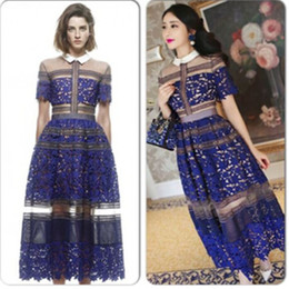 Wholesale ladies formal dresses - Wholesale-European high-end high-quality clothing, beautiful woman full of sheer embroidered lace stitching ladies formal wear long dress