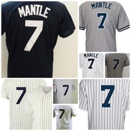Wholesale Navy White Striped - 2017 Baseball New York Jerseys 7 Mickey Mantle Grey Throwback Mitchell and Ness 1951 Cream White Striped Navy Jersey