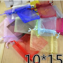 Wholesale Draw String Pouch Bags - Wholesale-The draw string bag set jewelry pouch small gift bag sachet saquinho de presente organza bag 10cm 15cm 10PCS lot free shipping