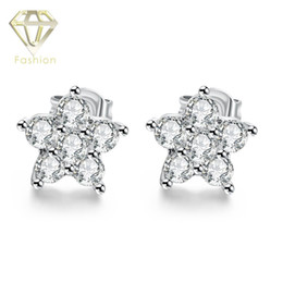 Wholesale Christmas Star Stud - New Fashion 18K Platinum Plated with AAA+ Cubic Zircon Diamond Star Snowflake Stud Earrings for Women Christmas Birthday Gift