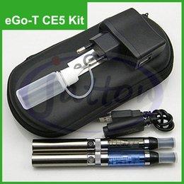 Wholesale Ego Bottle Dhl - eGo-T CE5 electronic 650mah 900mah 1100mah eGo Double E-cigarette kit Leather case Battery Atomizer long USB cable charger needle bottle DHL