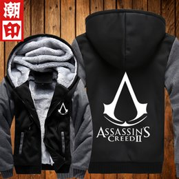 assassin s creed hoodie Coupons - Wholesale- Top Quality Thick Warm Assasin Creed Winter Fleece Lined Cosplay Coat Assassins Creed Hoodie Black Grey Unity plus size S-5XL