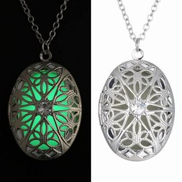 Wholesale vintage glass beads necklace - Vintage Womens Luminous Beads Atlantis Necklace Hollow Out Round Glowing Pendant Silver Plated Chain Statement Locket necklace can open