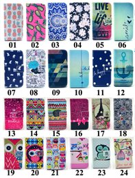 Wholesale Rubber Owl Case - Tribe Flower Tiger Elephant OWL Leather Wallet TPU Rubber Case With Card Slots Stand For iPhone 5 6 Plus Samsung Galaxy S4 S5 Mini S6 Note4