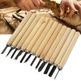 Wholesale Quality Wood Chisels - Wholesale- High Quality 12pcs Set Hand Wood Carving Chisels Knife For Basic Woodcut Working DIY Wood Carving Tools Iron With Wood Handle