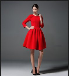 Wholesale Simple Elegant Dresses Woman - New Spring Autumn European Simple Dress Three Quarter Sleeve Lady's Elegant Causal Dress OL Party Dresses For Women Red Black