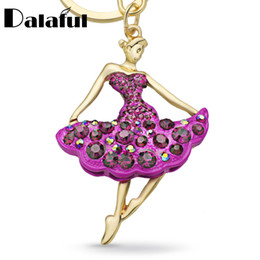 Wholesale Blue Dancer - Ballet Ballerina Dancer Girl Souvenir Gift Keychain Purse Bag Buckle HandBag Pendant For Car Keyring Holder Women Jewelry K229