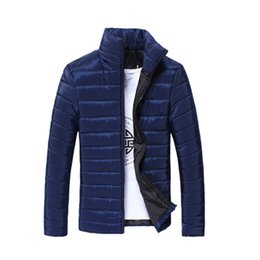 Wholesale Mens Padded Jackets - Fashion Mens Winter Slim Fit Jacket Padded Coat Overcoat Parka Blue