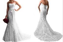 Wholesale Empire Waist Tulle Strapless Dress - Vintage Mermaid 2016 Full Lace Wedding Dresses Sweep Train Strapless Ribbon Sash Empire Waist Wedding Dress Lace Up Wedding Gowns Custom